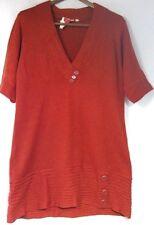 Derek Heart womens sweater size 2X rust metallic v-neck short sleeves buttons
