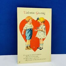 Valentines Day Postcard 1920s vtg paper ephemera post card Greeting friends kids