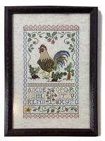 Vintage Sampler Completed Cross Stitch Needlework Embroidered Decor Wood Frame