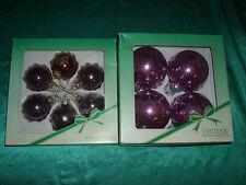 10 alte Christbaumkugeln Glas violett, lila Konvolut Weihnachtskugeln 5 + 8 cm