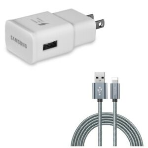 for iPhone iPad - USB Adaptive Fast OEM Home Charger w Power Cord 10ft USB
