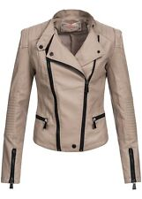 60% OFF IV081 Voyelles Damen PU Kunstleder Jacke Bikerjacke Kontrast Zip beige