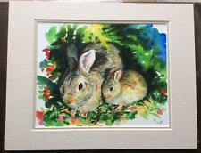 Rabbits Watercolor matted Art Print 11 x 14 Easter