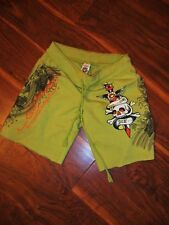 ED HARDY by christian audigier basic drawstring terry shorts - S DO OR DIE GREEN