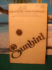 1979 PONTIAC OWNER'S MANUAL - SUNBIRD