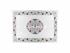 2.5'x5' White Marble Dining Table Top Multi Gems Inlaid Floral Furniture Decor