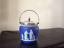 WEDGWOOD ANTIQUE DEEP BLUE JASPERWARE DIP BISCUIT BARREL / COOKIE JAR