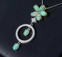 """Opal & Diamond 14k White Gold Over 2.80Ct Pendant 18""""Chain Necklace For Women's"""