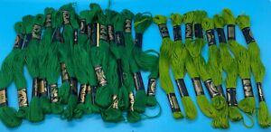 Lot 25 Skein DCM Floss Thread Greens Embroidery Floss Cross Stitch Needlepoint