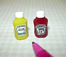 Miniature Heinz Mustard/Ketchup Set (Squeeze Style Bottles) for DOLLHOUSE, 1/12