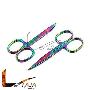2 Pcs (Straight & Curved) Multi Rainbow Color Cuticle Nail Scissors 3.5''