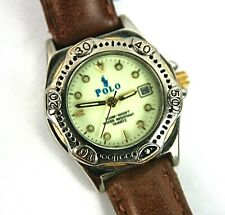 Polo Quartz Water Resistant Glow Face Wrist Watch Leather Buckle Band