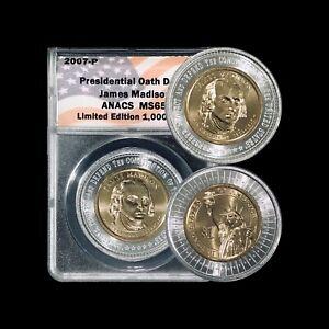 UNITED STATES. 2007, Dollar, P- ANACS MS65 - Presidential Oath, Madison, RARE