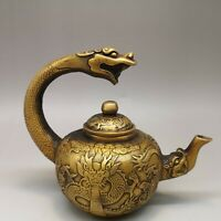"7"" qianlong mark Chinese old antique bronze carved dragon handle wine pot staue"