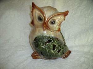 """Sweet LargeCeramic GARDEN OWL Woodland Nature Green Tan  12"""" Tall HOOT Butterfly"""