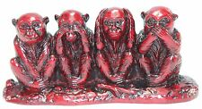 Feng Shui Red See No Evil, Hear No Evil, Speak No Evil Monkey Statue Figurine