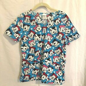 Disney Womens Scrubs Top Small Mickey and Minnie Bright Turquoise