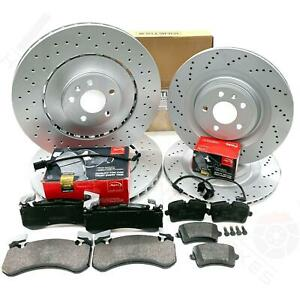 FOR AUDI S6 FRONT REAR DRILLED PERFORMANCE BRAKE DISCS APEC PADS 400mm 356mm