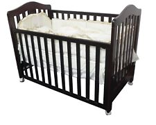 3 IN 1 Classic Cot Crib Toddle Timber Baby Bed with Wheel Dropside Walnut Brown