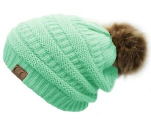 Slouchy Faux Fur Pom Pom Beanies Thick Cable Beanie Winter Hats