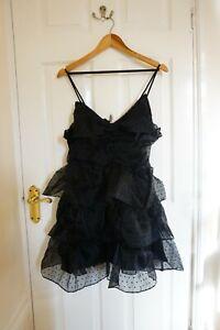 H&M Bow Flounced Dress, Black, Airy Fabric Plumeti, Draped Flared Skirt, Size M