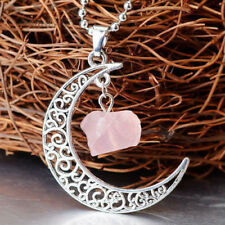 Rose Quartz Moon Gemstone Pendant Natural Crystal Healing Stone Necklace NEW