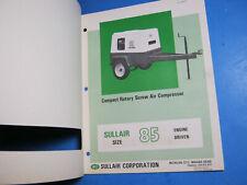 Sullair Air Compressor Operators Manual Amp Parts List 85 1975