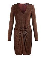 TED BAKER Black Copper Sparkle Front Twist LIZZEY Bodycon Dress Sz 0 = US 2 NEW