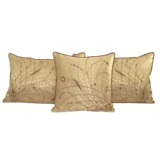 3 pcs Yellow Queen Size Jacquard Satin Meadow Reeds Pillow Cases/Cushion Covers