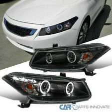 For 08-12 Honda Accord 2Dr Coupe Black LED Halo Projector Headlights Head Lamps