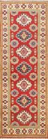 RED Vegetable Dye Super Kazak Hand-knotted Oriental Runner Rug Wool Classic 2x6