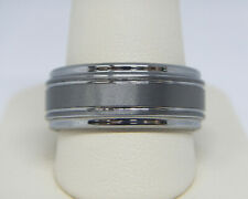 TRITON MEN'S 9.0MM DOUBLE GROOVE COMFORT FIT TUNGSTEN WEDDING BAND RING