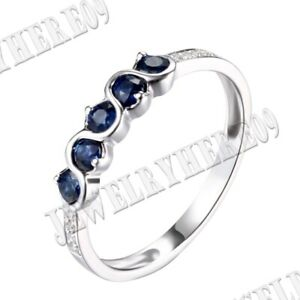 18K White Gold 0.55ct Round Genuine Sapphires &Diamonds Engagement Ladys Ring