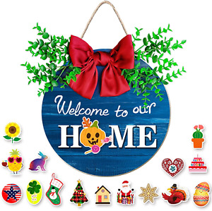 Interchangeable Seasonal Welcome Sign for Front Door Decor,Blue Porch Sign,Round