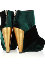 MESSECA Green Velvet Wedge Sandals. Sold out! Rare!