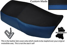ROYAL BLUE AND BLACK CUSTOM FITS KAWASAKI GT 550 DUAL LEATHER SEAT COVER