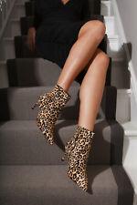 Carvela Leopard Print Suede Black Tan Ponyhair Slim Kitten Heel Ankle Boots sz 4