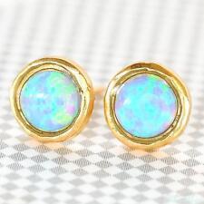 Gold Filled 14k Earrings Opalite Designer Warranty Stud New Lady Unique Blue