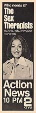 1974 KTVU TV NEWS AD~MARCIA BRANDYWYNNE REPORTS~THE SEX THERAPISTS~SAN FRANCISCO