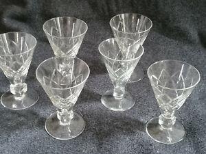 6 original Val St Lambert Art Deco Gläser Rautenschliff Würfel Stiel Sehr Selten
