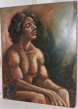 Vintage Muscular Nude MALE Mexican HISPANIC MAN Oil Portrait Painting c1974 ART