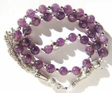 AMETHYST PRAYER BEADS ISLAMIC TASBIH MASBAHA 8mm x 33 BEADS