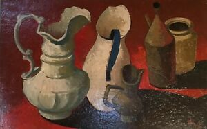 """Beverly Hackett """"Water Pitchers"""" Original Oil Painting 1958 impressionistic"""