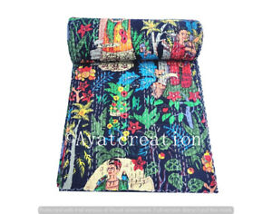 Handmade Cotton Kantha Quilts Hippie Reversible Bedcover Indian Bedspread ,