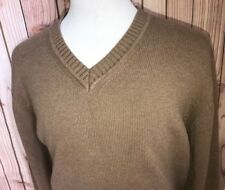 LL Bean Mens Long Sleeve V-Neck Pullover 100% Cotton Sweater Brown Size XL