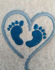 Blue feet and heart. Machine embroidered face washer  gift. Flannel, BABY