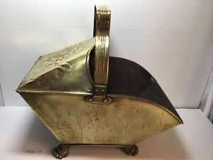 Victorian Brass / Metal Coal Scuttle With Embossed Flower Decor And Lion Feet