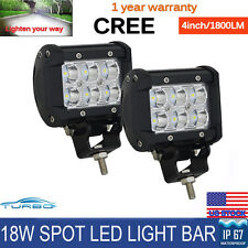 2x 4inch 18W CREE LED Work Light Bar Spot Offroad 4WD UTE ATV Fog Driving Lamp
