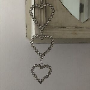 Vintage Style Crystal Gem Stone Triple Hanging Heart Home Decoration