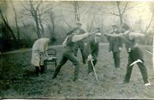 uralte AK, Duell Degenfechten im Park, Photo-AK